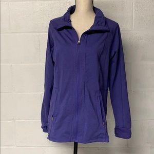 Earth Yoga Athletic Zip Up Light Jacket Purple XL